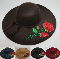 Ladies Felt Winter Hat w Ribbon [XL Brim] Rose Applique